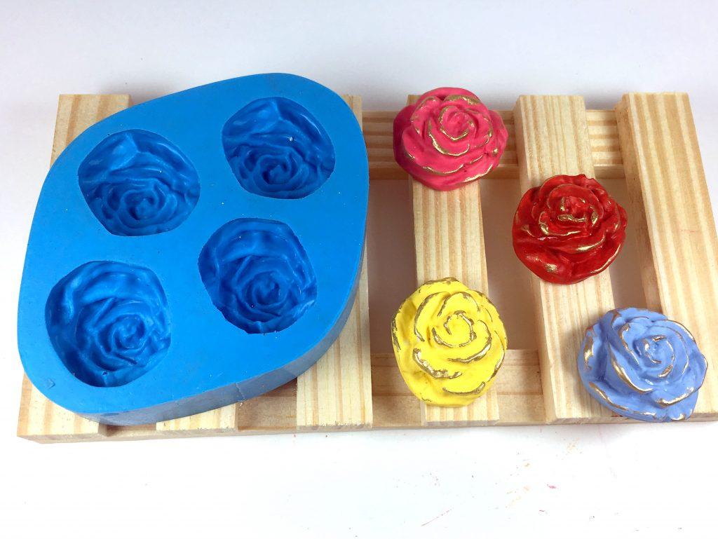 Forma de silicone Rosa Mini 4 Cavidades