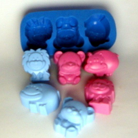Forma de silicone Moldes de silicone  Zoo 3cav.