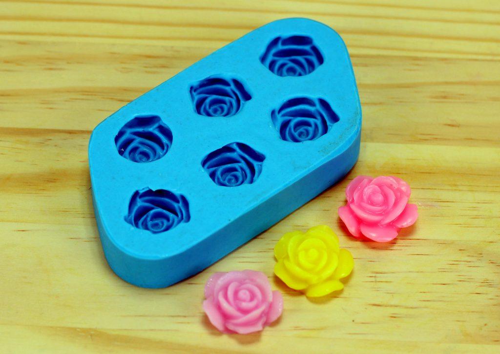 Forma de Silicone Rosa do Campo Mini 6 Cavidades