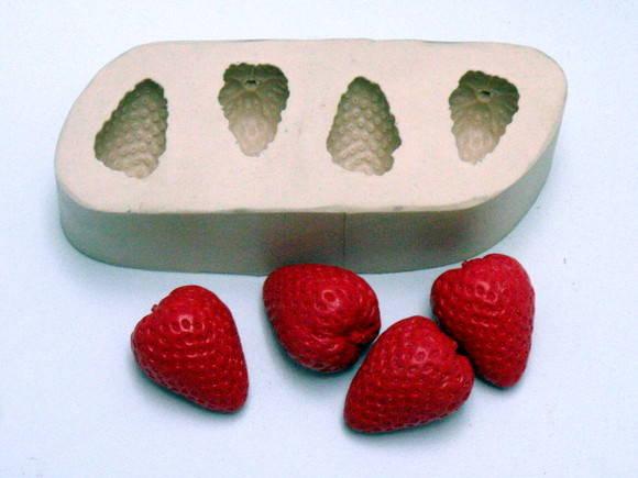 Forma de silicone Morango 4 Cavidades