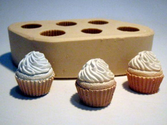 Forma de silicone Mini Cupcakes 6 Cavidades