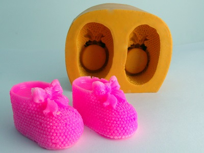 Forminha de Silicone Botinha de Bebê 2 cavidades