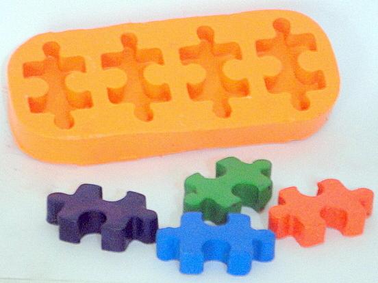 Moldes de Silicone Quebra Cabeça 4 cavidades