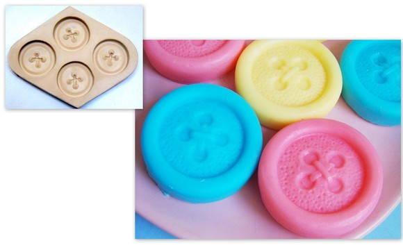 Forma de silicone Botões 4 Cavidades
