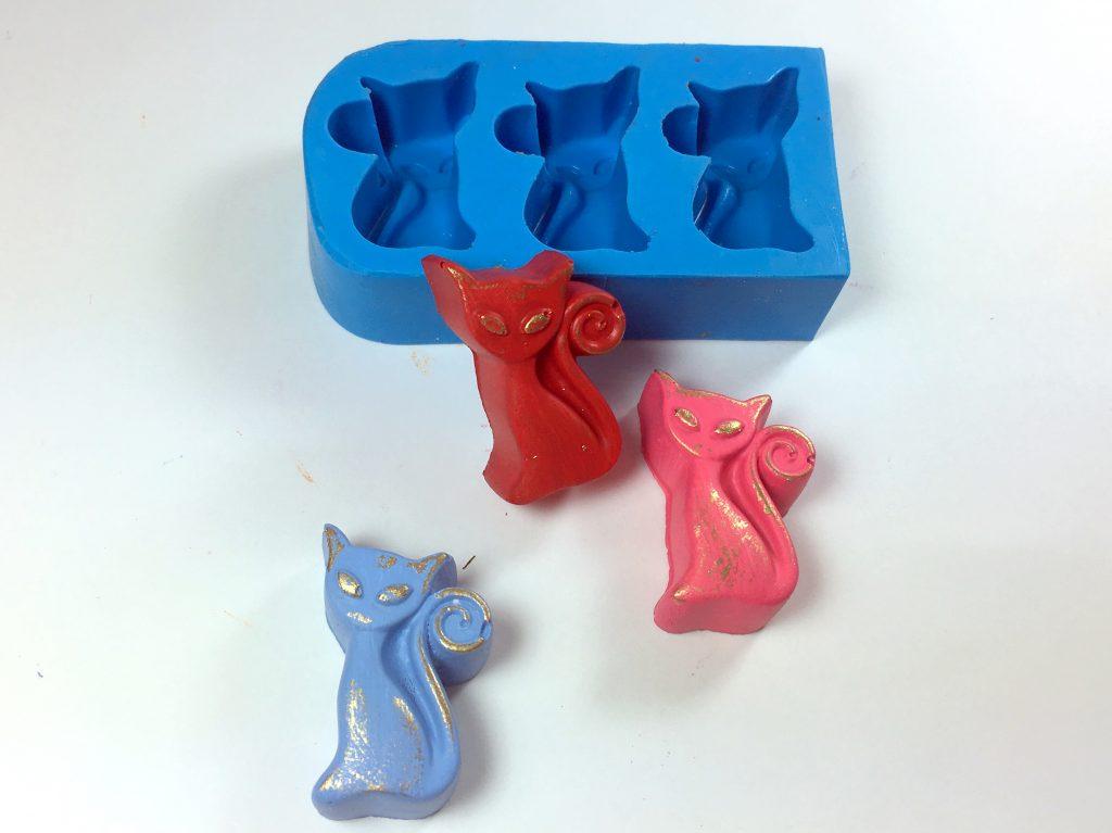 Forma de Silicone Gato 3 Cavidades